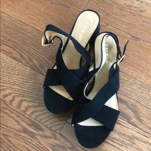 Bamboo black strappy block heel